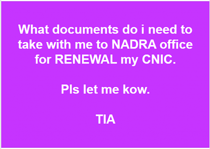 documents to take for cnic renewal